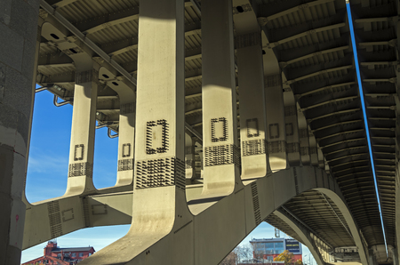 clincher: Structural elements of highway bridge - view from below  Stock Photo