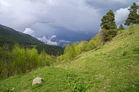 thundercloud: Thundercloud in the mountains  Aksaut Gorge, Caucasus, Russia  Stock Photo