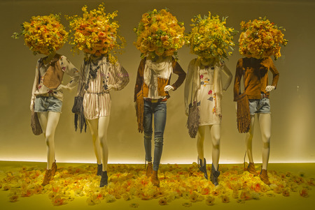 Mannequins in the showcase of a  department store in Paris, France  photo