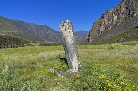 katun: Menhir Stone. Katun river bank, Altai, Russia.