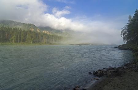 katun: Morning fog over the river. The river Katun, Altai, Russia.