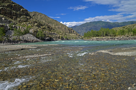 Confluence of the creek into the river Katun. Altai, Russia. photo