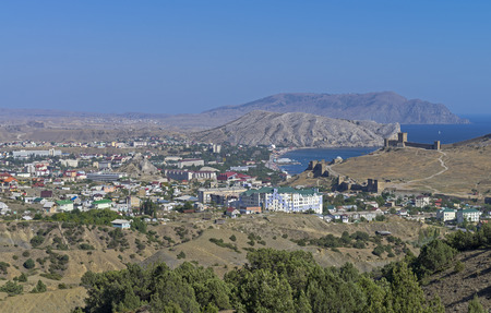 A small resort town in Crimea. View from the mountainside. photo
