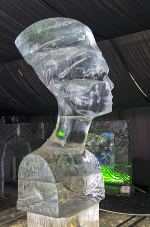 queen nefertiti: Bust of Queen Nefertiti in the exhibition of ice sculptures. Moscow, Sokolniki Park.