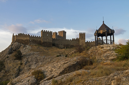 Genoese fortress in Sudak, Crimea. Restored walls and towers.