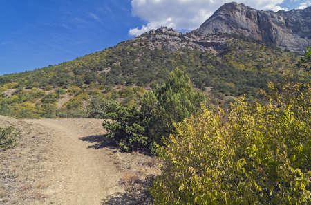 vicinity: Walking trail in the Crimean mountains. Vicinity of the resort village Novyi Svit.