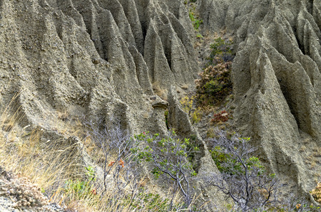 soil erosion: Fragment of a hillside with traces of severe soil erosion. Crimea, Cape Meganom.