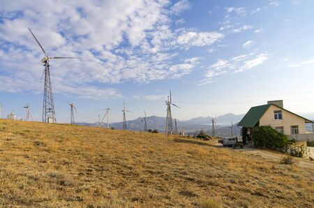 wind power plant: Generators on a wind power plant. Crimea, Cape Meganom.