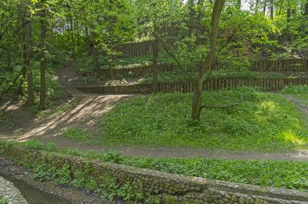 reinforcing: Terraces reinforcing the slope of the Golosov ravine in Kolomenskoye park in Moscow. Russia.