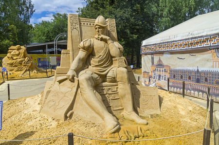 subjugation: MOSCOW,  RUSSIA - July 31, 2015. The exhibition of sand sculptures in Sokolniki Park. Composition of Conquistador by Alexander Zhidkov.