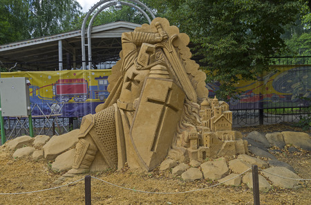 crusade: MOSCOW,  RUSSIA - July 31, 2015. The exhibition of sand sculptures in Sokolniki Park. Composition crusade by Ivan Savenkov.