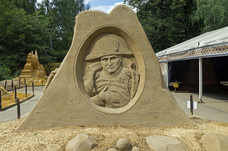 konstantin: MOSCOW,  RUSSIA - July 31, 2015. The exhibition of sand sculptures in Sokolniki Park. Composition  Napoleon by Konstantin Kuzyarin.