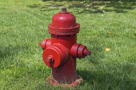 pomp: Bright red fire hydrant on the background of green grass Stock Photo