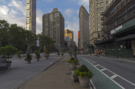 new path: The intersection of Broadway and Fifth Avenue, the early morning. Manhattan, New York City.