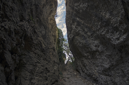 narrowly: Crimea. View of a narrow gorge. It is believed that the stairs in this gorge is made by the ancient Tauris, who lived here at the beginning of the Common Era.