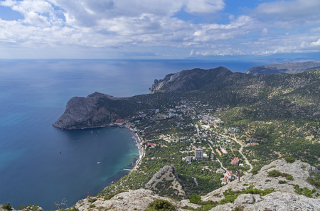 valley view: Black Sea coast. View of the small resort town from the top of the mountain. Crimea, September.