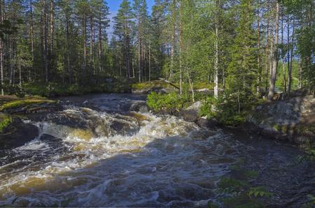 pista: View of river rapids on the Pistayoki river, Karelia, Russia. Stock Photo