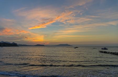 in september: Dawn on the Black Sea. Crimea, September. Stock Photo