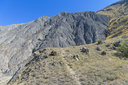 soil erosion: Lifeless clay slope with traces of soil erosion. Cape Meganom, Crimea.