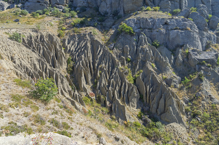 whimsical: Crimea, Cape Meganom. Whimsical relief, formed by weathering and erosion on a on clay slope.