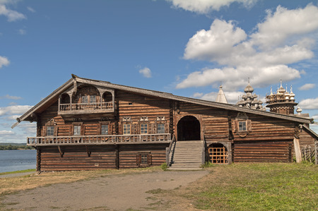 kizhi: KIZHI ISLAND, RUSSIA - AUGUST 20, 2010: Open-air museum of wooden architecture. The house of a wealthy Karelian farmer. The end of the nineteenth century.