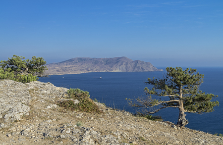 is cloudless: Crimea. View of the Cape Meganom. Cloudless summer day. Stock Photo