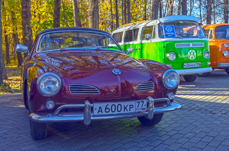 typ: MOSCOW, RUSSIA - OCTOBER 12, 2013: Car Volkswagen  Karmann-Ghia Typ 14 at the open-air retro and vintage cars exhibition at the Lenin Hills. The exhibition is organized by informal group of retro cars fans.
