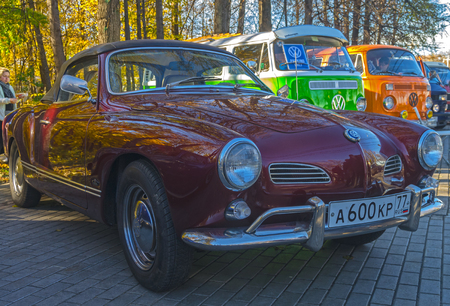MOSCOW, RUSSIA - OCTOBER 12, 2013: Car Volkswagen  Karmann-Ghia Typ 14 at the open-air retro and vintage cars exhibition at the Lenin Hills. The exhibition is organized by informal group of retro cars fans.