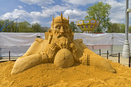 folk tales: MOSCOW, RUSSIA - May 1, 2016: The exhibition contest of sand sculptures in Kolomenskoye Park. Composition Bag of Bones by Alexander Knysh. Bag of Bones (or Koschei the Deathless) is a popular negaive character in Russian folk tales. Editorial