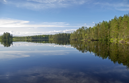 Forest lake in the evening. June.  South Karelia, Russia. Stock Photo