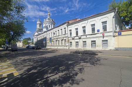 MOSCOW, RUSSIA - JULY 31, 2016:  Church of Martin the Confessor (Ascension) on the  Solzhenitsyn street in Moscow. Sunny morning in July.