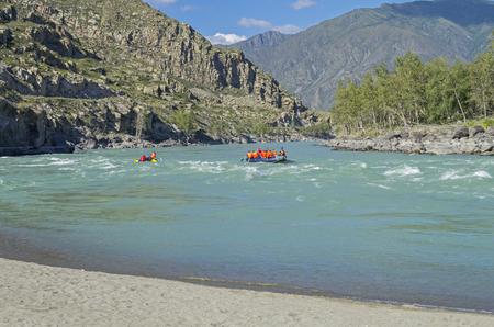 katun: Rafting on Katun. Altai Mountains, Russia. Sunny summer day.