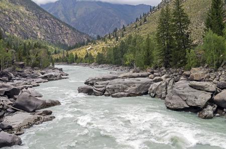 atlantes: Final part of Atlantes rapids, Argut river. Altai Mountains, Russia.