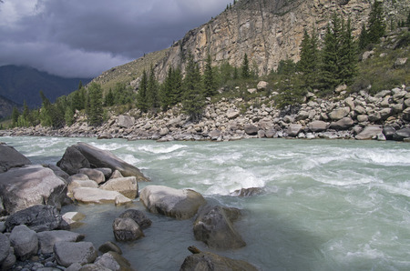 atlantes: In the middle of Atlantes rapids on Argut river. Altai Mountains, Russia.
