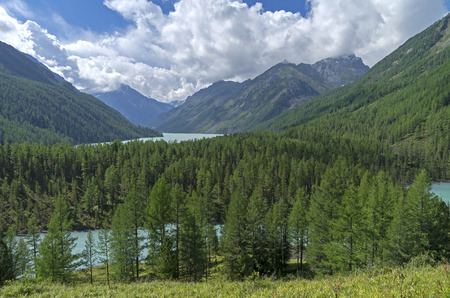 Mountain lakes in the valley of the river Kucherla. Altai Mountains, Russia. Sunny summer day. Stock Photo