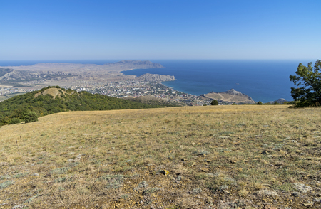 sudak: A view of the Crimean coast from the top of the mountain. The surroundings of the resort town of Sudak.  September.