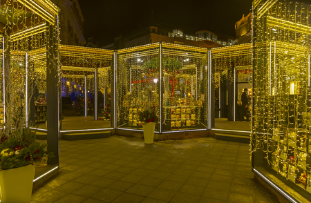 MOSCOW, RUSSIA - DECEMBER 20, 2016: Fair stalls in the center of Moscow. Annual Christmas Fair. Moscow, Russia, December 2016. Stock Photo