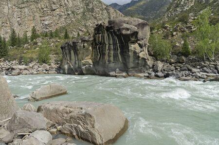 atlantes: Rapids Atlantes on Argut river. Altai Mountains, Russia.