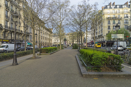 The deserted Parisian boulevard. Boulevard Clichy early in the morning. End of March. Paris, France.