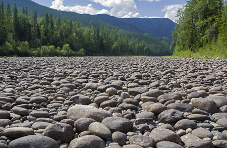 Dry stony river bed. Sunny summer day, early August. The Oka Sayanskaya River in the Orkho-Bom gorge. East Sayan. Buryatia, Siberia, Russia. Stock Photo