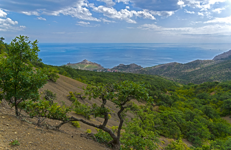 View from the slope of  Perchem mountain (the highest mountain in the vicinity of the town of Sudak) towards the sea. Crimea.