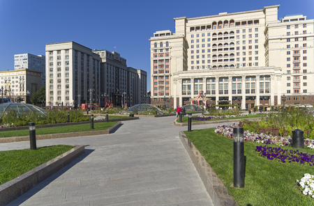 Building of the State Duma of the Russian Federation. View from the Manege Square. Sunny day in September.