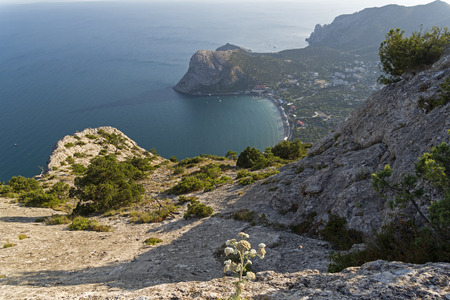 View from the top of Sokol mountain to the coastal resort town of Novy Svet, Crimea.