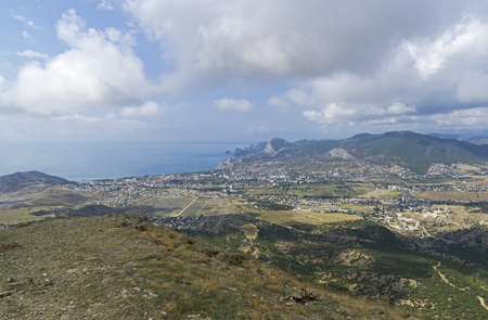 Panorama of the Sudak valley and the resort town of Sudak. View from the top of the mountain Ai-George. Beginning of September. 版權商用圖片