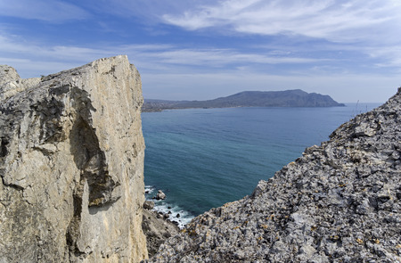 A view of Cape Meganom from the rocky peak of Cape Alchak. Crimea, beginning of April.