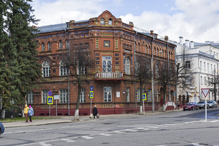 The historical center of Smolensk, Russia. Old house, built in pseudo-Russian style. End of April, a sunny day. Editorial