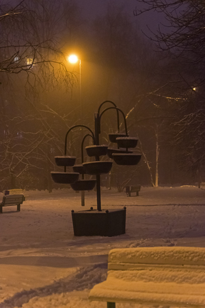 Late foggy winter evening in a residential area of Moscow, Rissia. Stockfoto