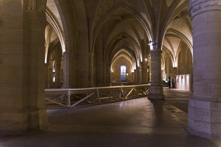 Paris, France - August 30, 2018: Stephane Thidets installation dedicated to the Paris flood of 1910. The Hall of Guards of the old royal castle of the Conciergerie, Paris, France. Editorial