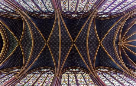 Sainte-Chapelle - the ceiling of the Upper Chapel. Paris, France.