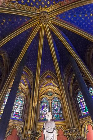 Sainte-Chapelle - the interior of the Lower Chapel. Paris, France.